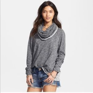 Free People Beach Gray Cotton Cocoon Cowl Pullover